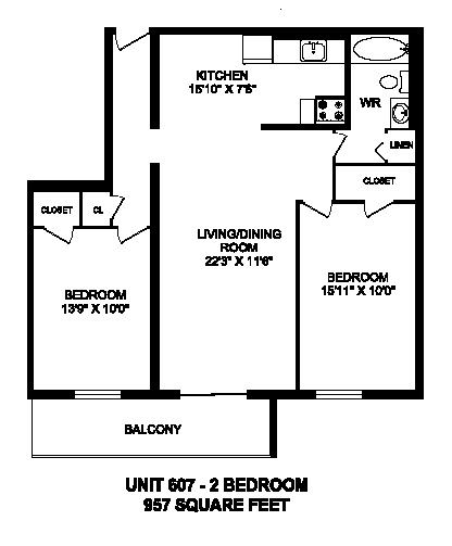 Floor plan of 2 bed, 1 bath, generous suite with balcony access at Regency Tower in Owen Sound, ON
