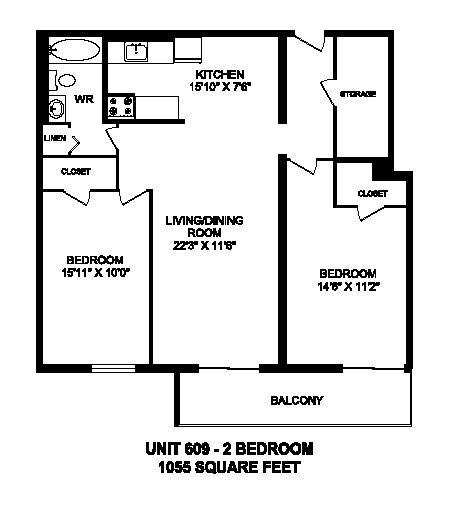 Floor plan of 2 bed, 1 bath, spacious apartment with balcony at Regency Towers in Owen Sound, ON