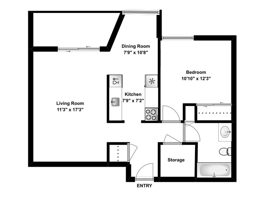 One bedroom, one bathroom apartment layout at Riverbend Tower in Chatham, ON