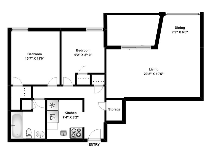 Two bedroom, one bathroom apartment layout at Riverbend Tower in Chatham, ON