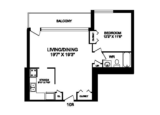 One bedroom, one bathroom apartment layout at Rockford in Toronto, ON