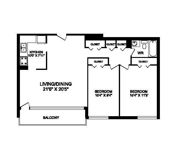 Two bedroom, one bathroom apartment layout at Rockford in Toronto, ON