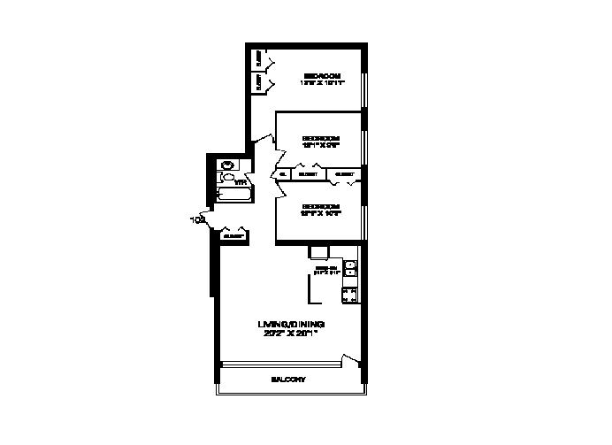 Three bedroom, one bathroom apartment layout at Rockford in Toronto, ON