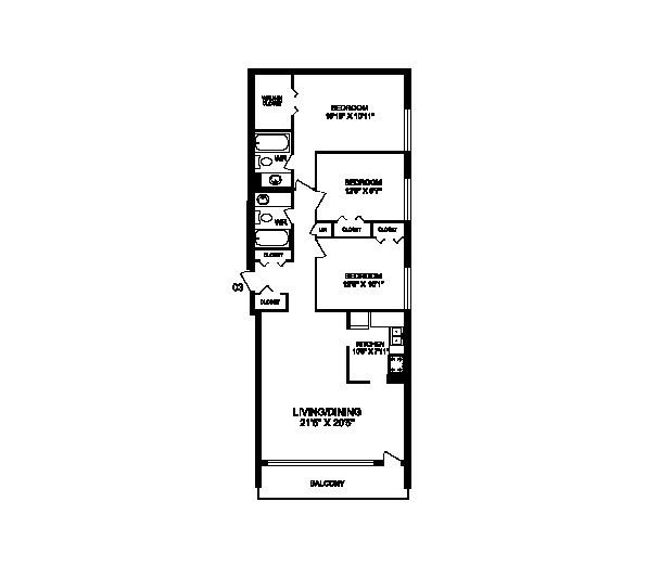 Three bedroom, two bathroom apartment layout at Rockford in Toronto, ON