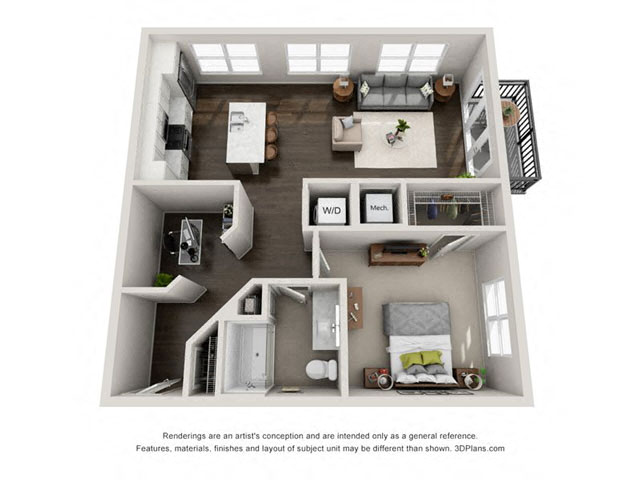 1 Bed 1 Bath A5 Floor Plan at Marq on Main, Illinois, 60532