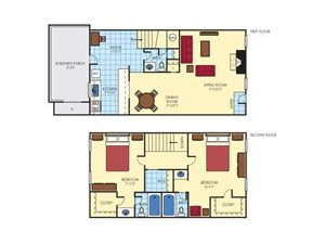 Townhouse - Two Bedroom  2 Full 1 Half Bath