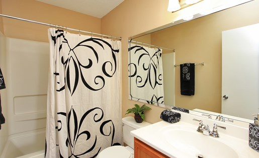 Attached Master Bathroom with Large length mirror and fully vanity