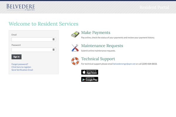 Belvedere at Quail Run Apartments in Naples, FL,34105 online resident portal for payments and maintenance requests