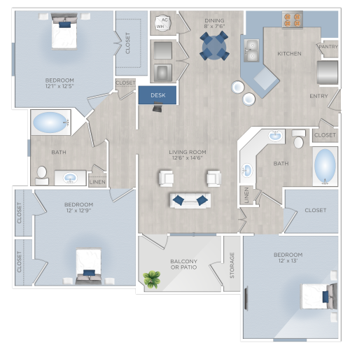 Three Bedroom Apartments in Tomball, TX - The Preserve at Spring Creek - C1