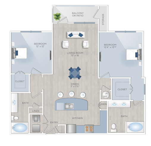 Two Bedroom Apartments in Tomball, TX - The Preserve at Spring Creek - B2
