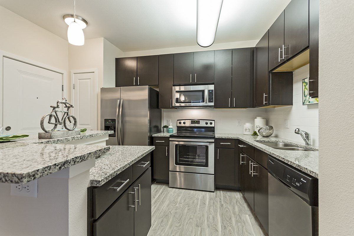 Gourmet Kitchen at Westlink at Oak Station Apartments in Lakewood, CO