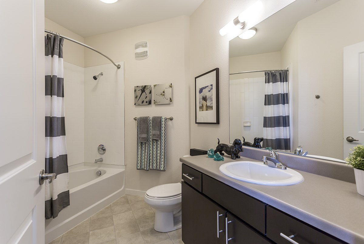 Bathroom at Westlink at Oak Station Apartments in Lakewood, CO