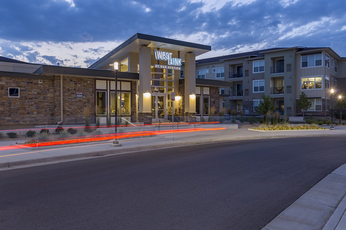 Clubhouse Exterior at Westlink at Oak Station Apartments in Lakewood, CO