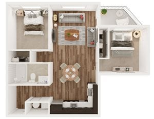 2 Bedroom 1 Bath - C