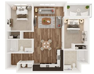 2 Bedroom 2 Bath - H