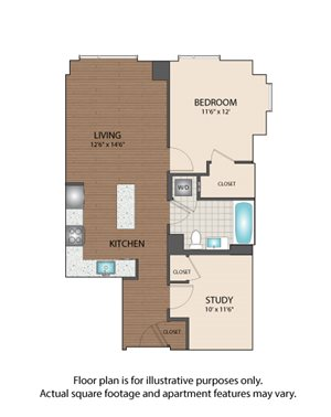 one bedroom w/ study luxury The Victor Apartments Boston, MA