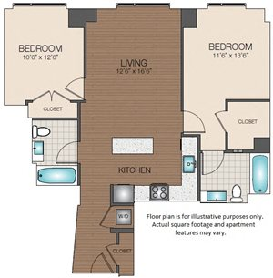2 bedroom 2 bath The Victor Apartments North Station