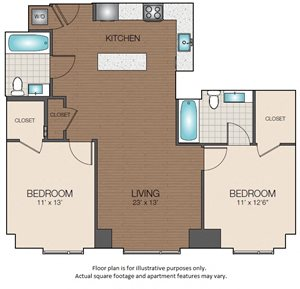 two bedroom two bath open floorplan The Victor Apartments 02114