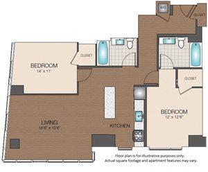 Luxury West End Apartments 2 bedroom 2 bathroom floorplan The Victor