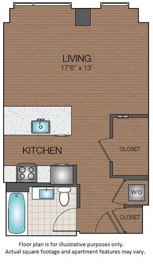 STudio floorplan West End, Boston Mass The Victor Apartments