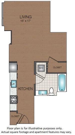 Large Studio floorplan The Victor Apartments Boston, MA