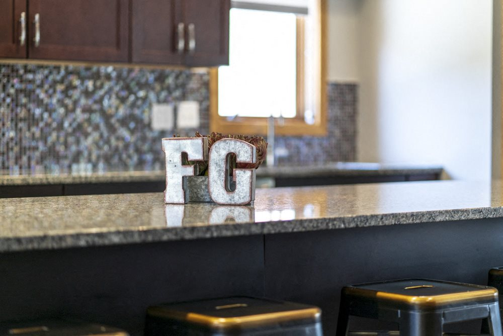Close up of the kitchen in the clubhouse at Fountain Glen Apartments