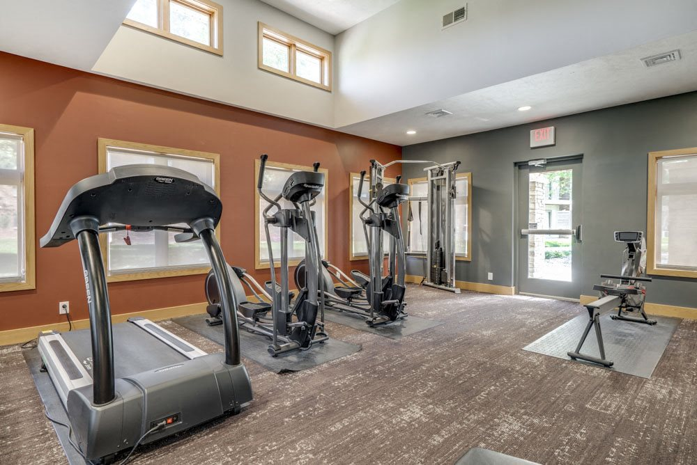 Cardio equipment in the fitness center at Fountain Glen Apartments!