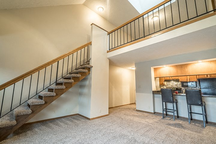 View of the open concept loft floorplan at Fountain Glen Apartments