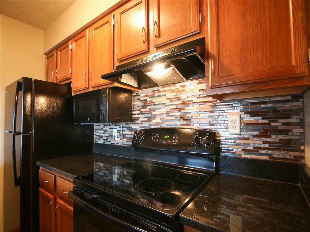 renovated kitchen at Fountain Glen Apartments in Lincoln Nebraska