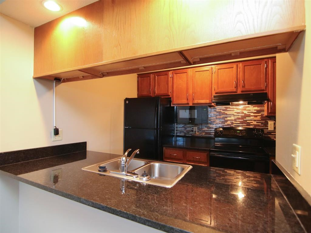 renovated kitchen area at Fountain Glen Apartments in Lincoln Nebraska