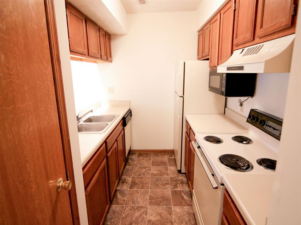 Inside a kitchen at Fountain Glen Apartments in Lincoln Nebraska