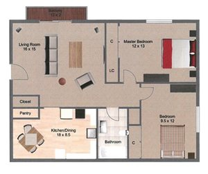 Bayou Floorplan at Great Plains Apartments