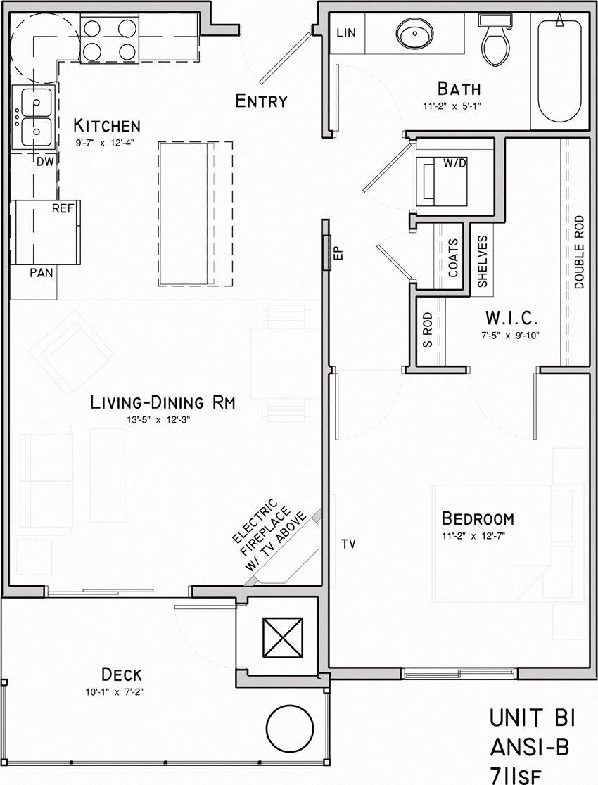 Luna one bedroom one bathroom floor plan at North Pointe Villas