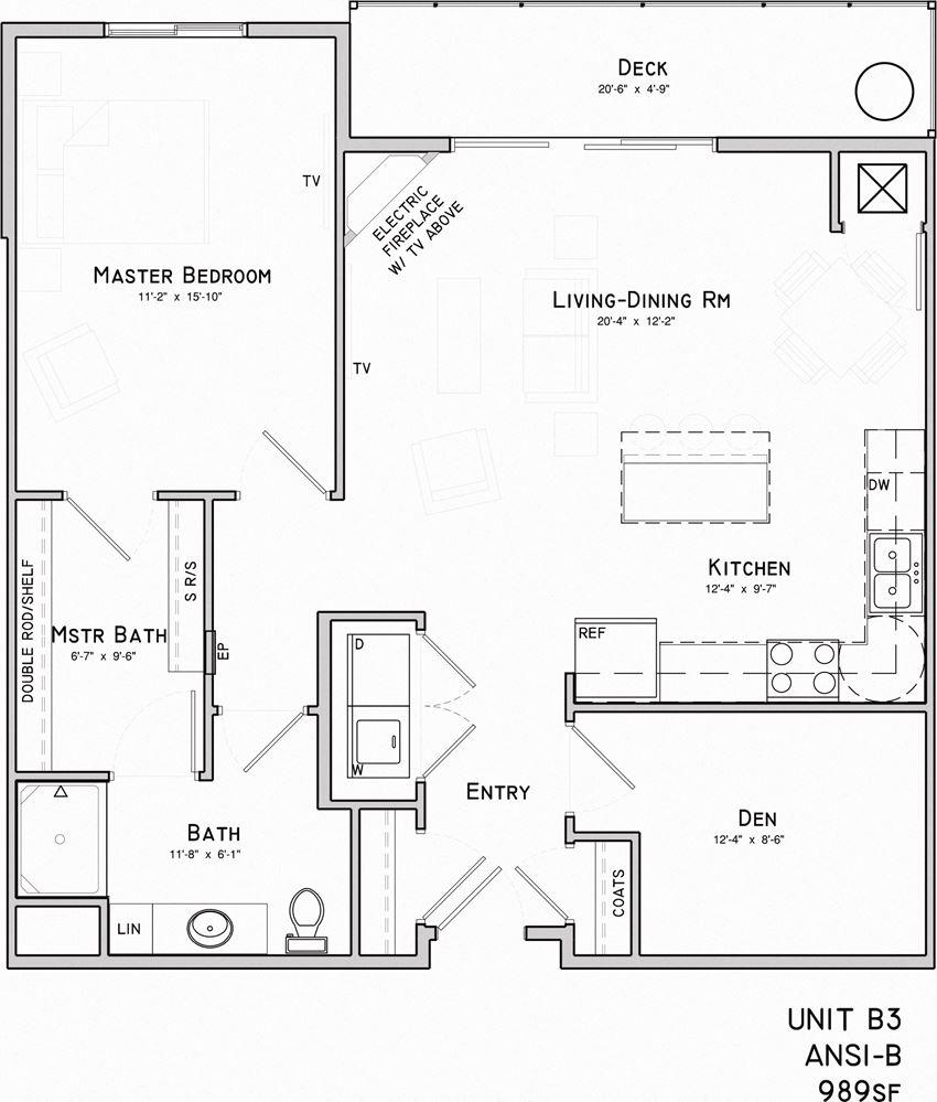 one bedroom one bathroom B3 floor plan at North Pointe villas