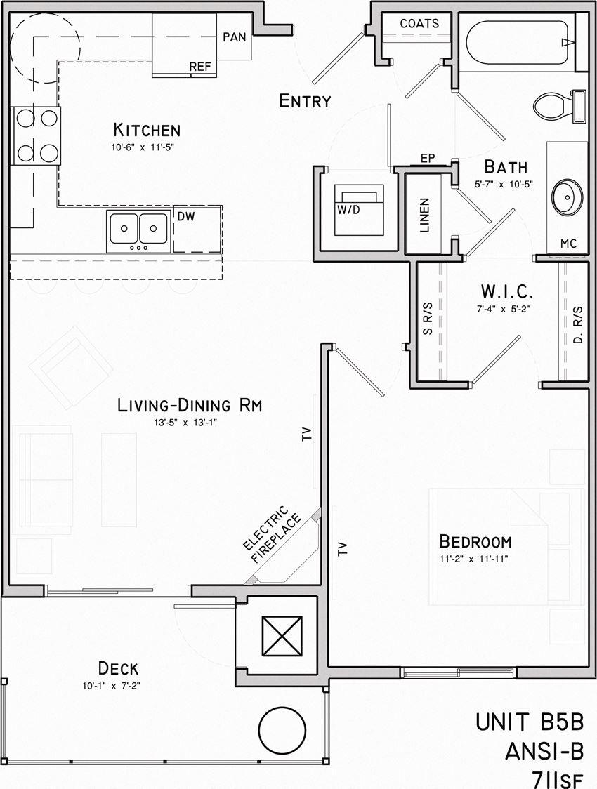 Oliver one bedroom one bathroom floor plan at North Pointe Villas