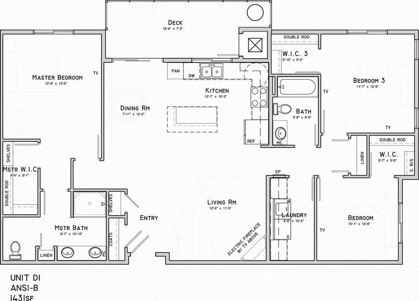 North Pointe Villas 3 bedroom Harrison Floor plan