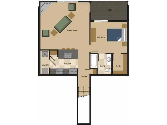 Felix one bedroom one bathroom Floorplan at North Pointe Villas