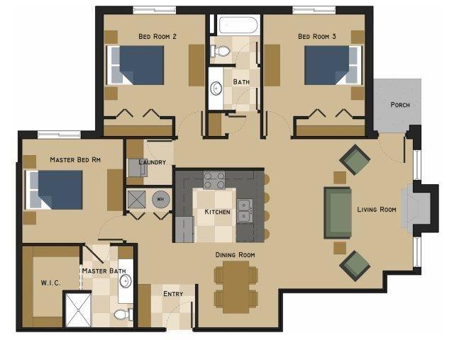 Harper Floorplan three bedroom two bathroom at North Pointe Villas