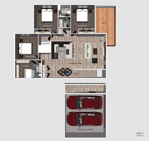 Jameson Floorplan three bedrooms two bathrooms at North Pointe Villas