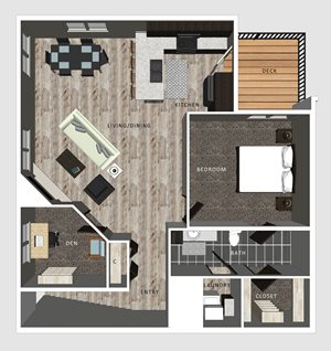 1 bedroom apartment Baxter floor plan North Pointe Villas