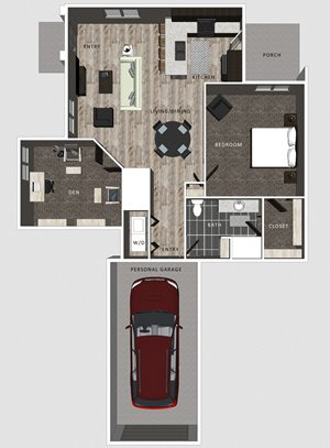 1 bedroom apartment Casper floor plan at North Pointe Villas