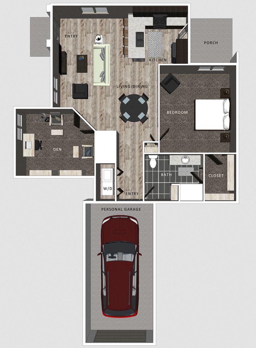 1 bedroom apartment Casper floor plan at North Pointe Villas