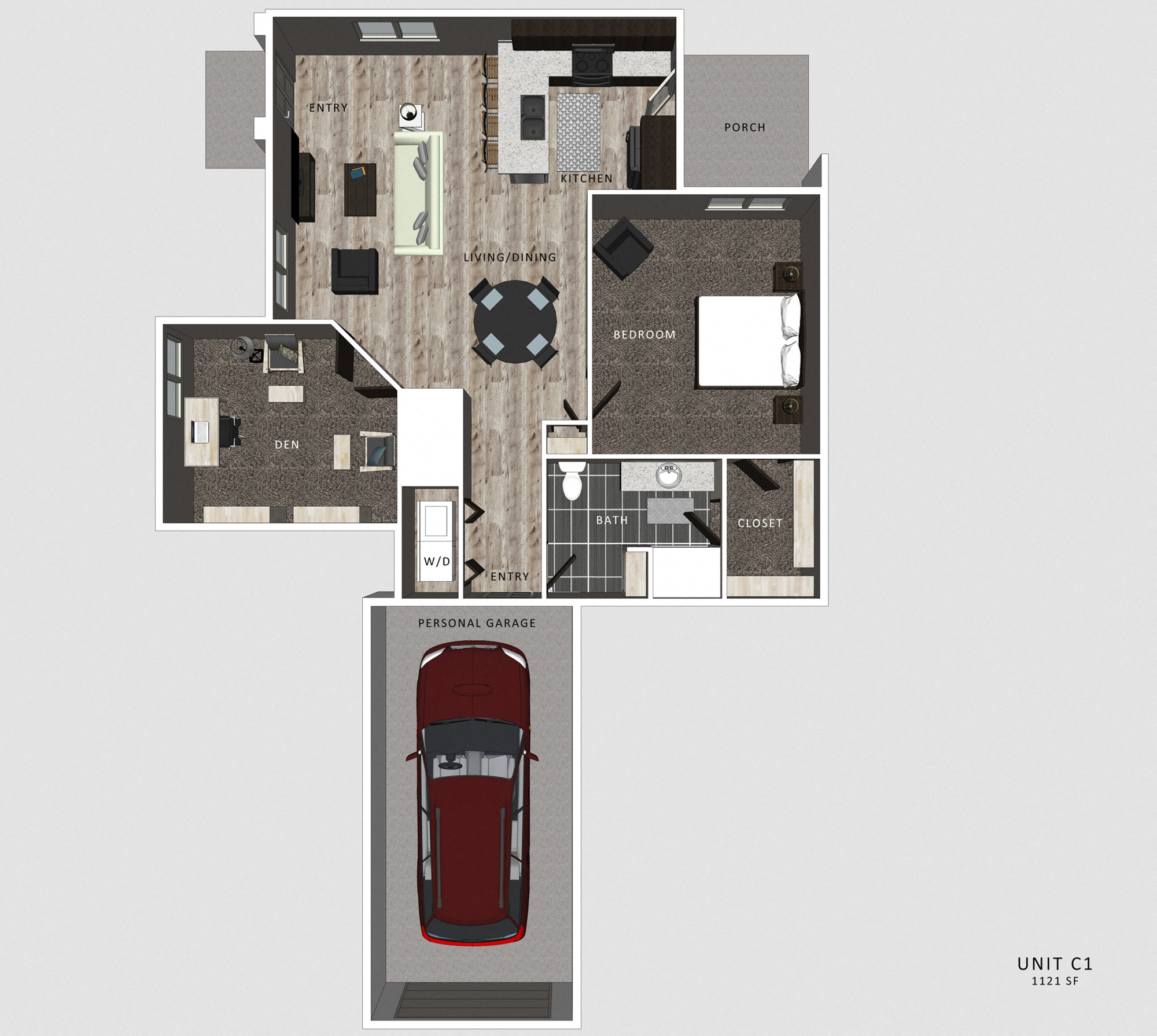 Superior 1 Bedroom Apartment Casper Floor Plan At North Pointe Villas