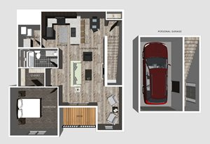 1 bedroom apartment Delaney floor plan-North Pointe Villas