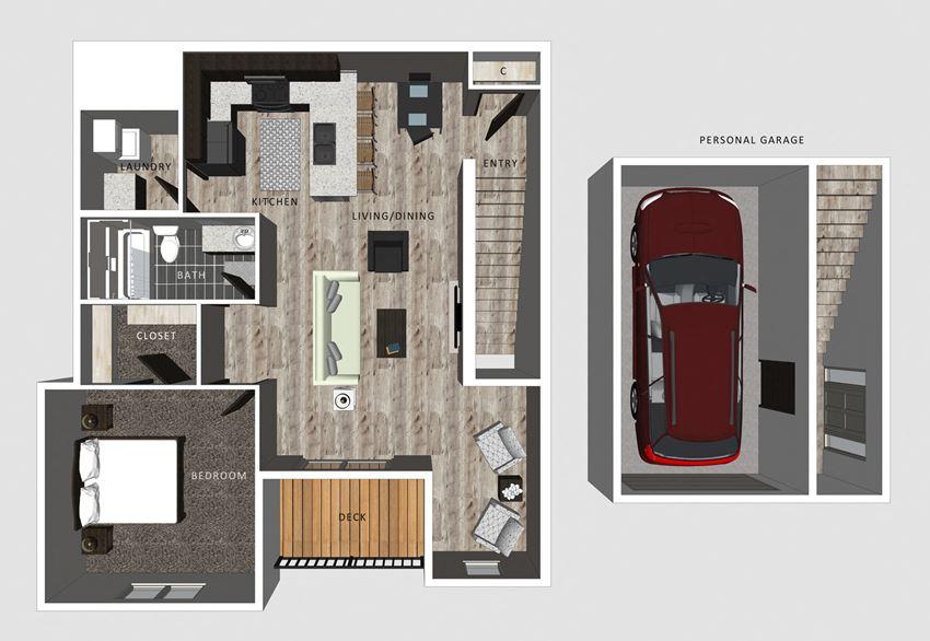 1 bedroom apartment Delaney floor plan-North Pointe Villas