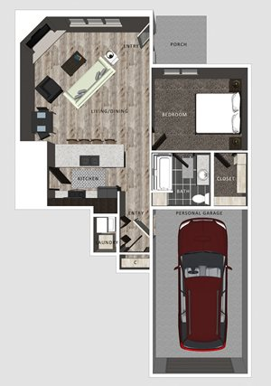 1 bedroom apartment Embry floor plan-North Pointe Villas