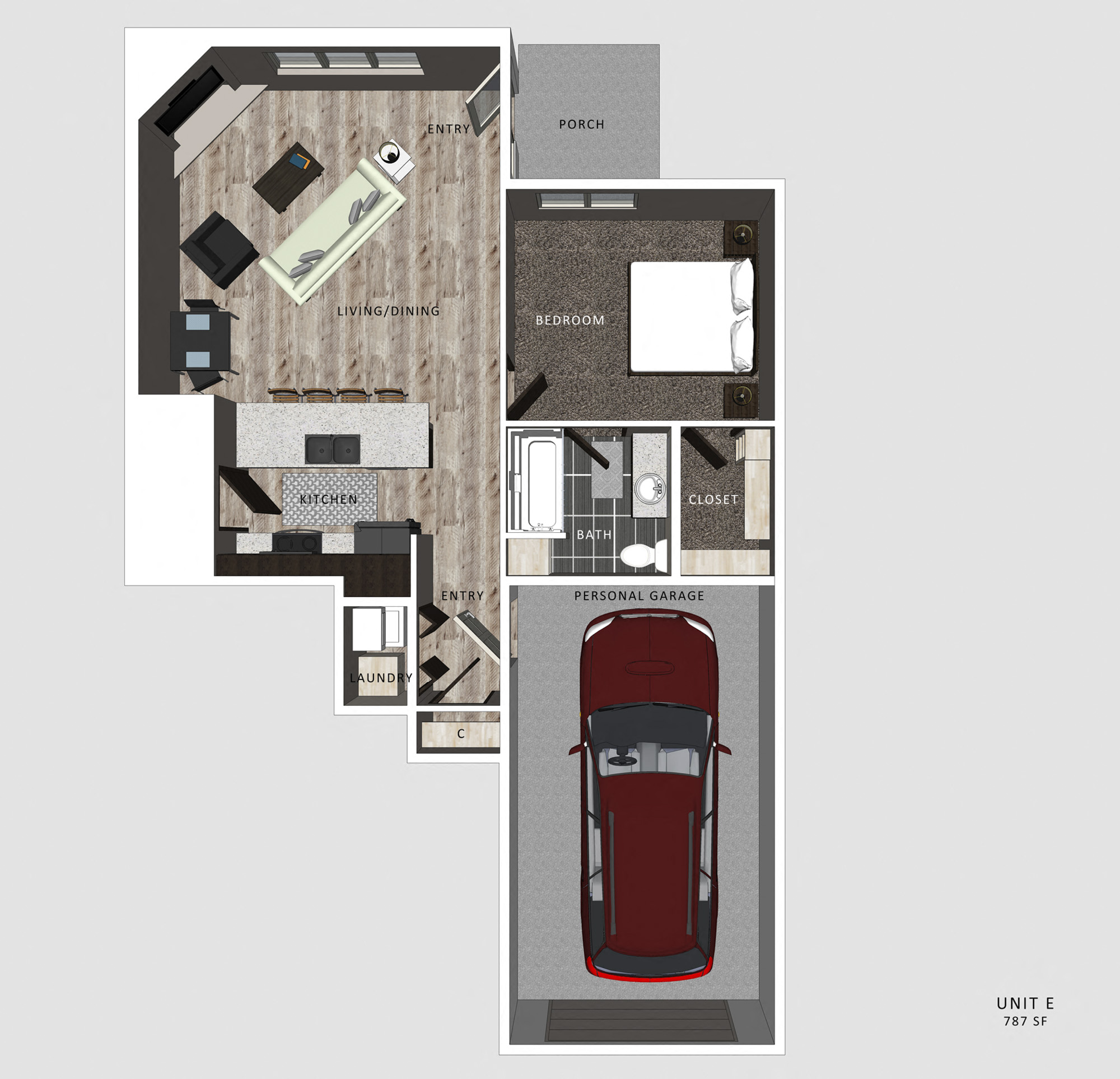 1 Bedroom Apartment Embry Floor Plan North Pointe Villas