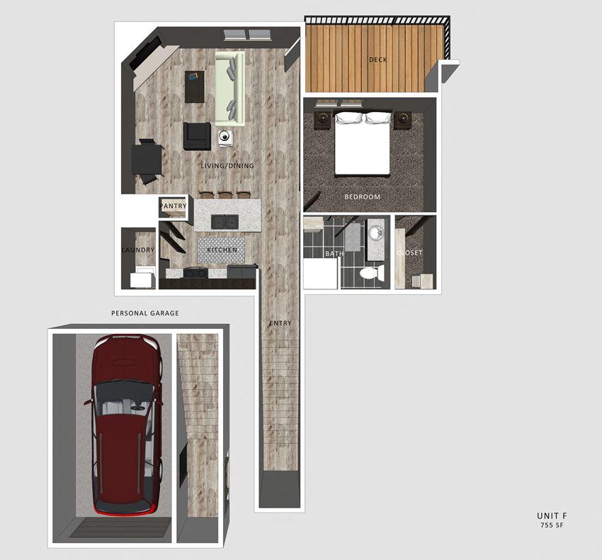 Felix one bedroom one bathroom floor plan at North Pointe Villas