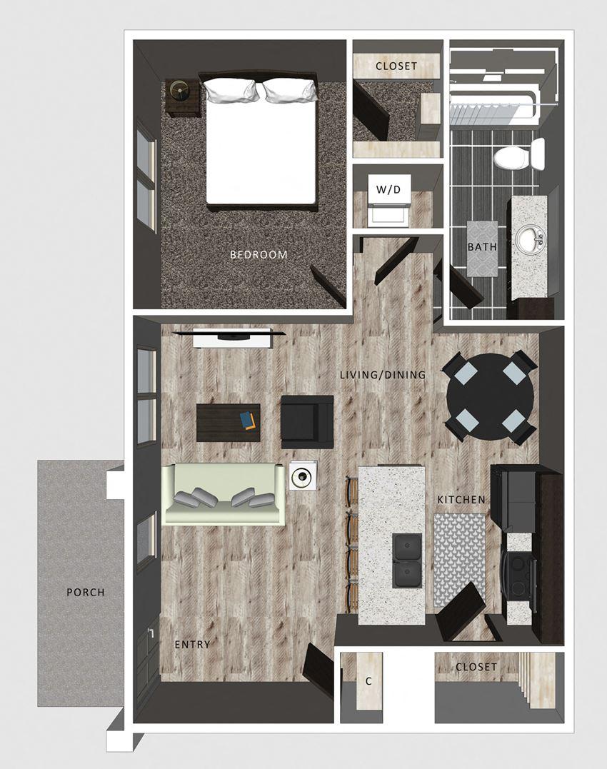 1 bedroom apartment Gable floor plan-North Pointe Villas