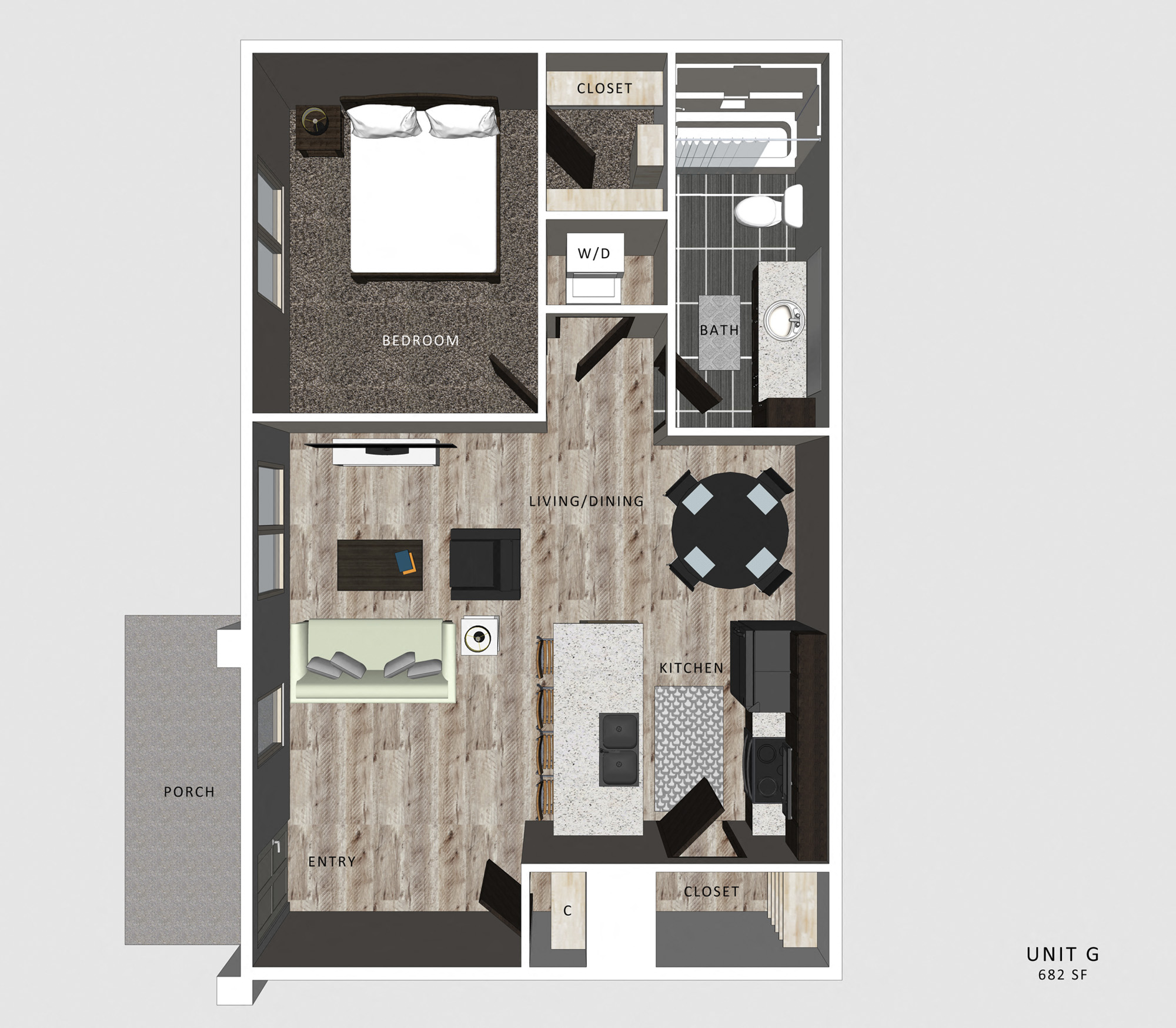 1 Bedroom Apartment Gable Floor Plan North Pointe Villas